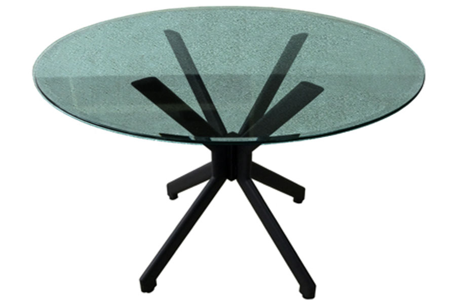Alan Table Dining Set with Crackle Glass Top