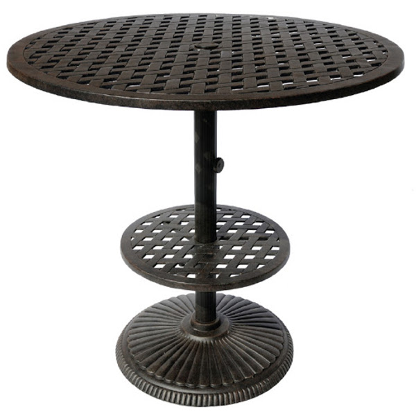 Table - Pedestal Bar - Basket Weave Pattern - 42""