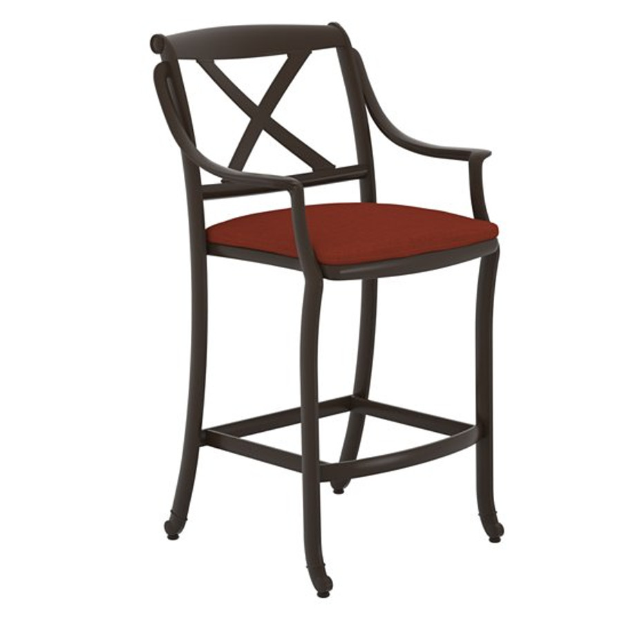 BelMar X-Back Stationary Bar Stool with Seat Pad
