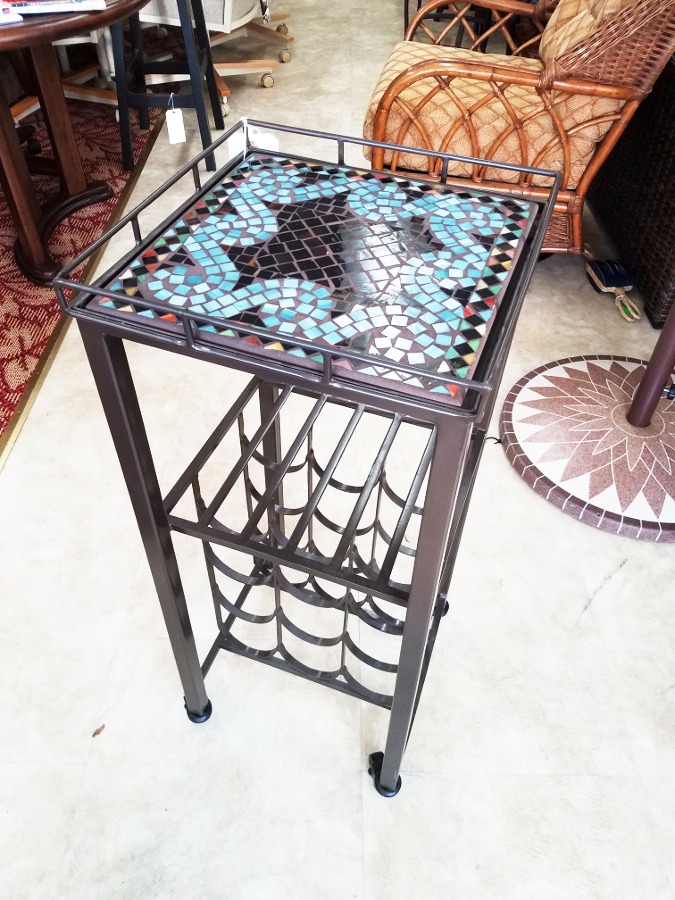Bronze Oasis Square Wine Cart 14""