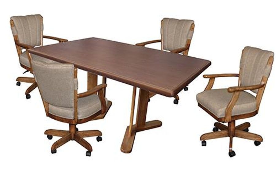 Dining table with castor chairs