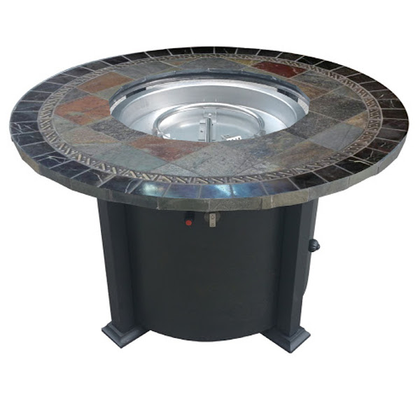 Round Gas Fire Pit with Stone Tile Top - 48""
