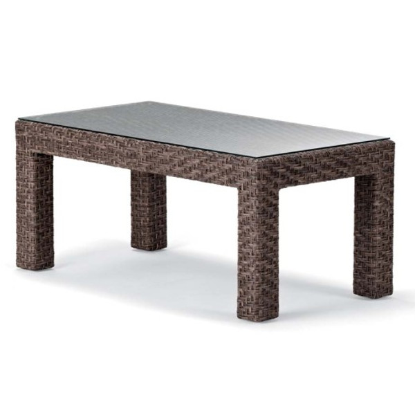 Lake Shore Wicker Coffee Table with Tempered Glass Overlay