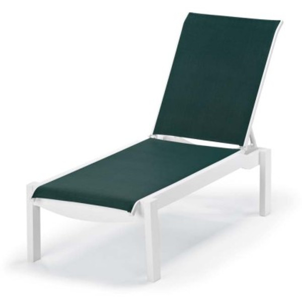 Leeward Sling Lay-flat Stacking Armless Chaise with Wheels