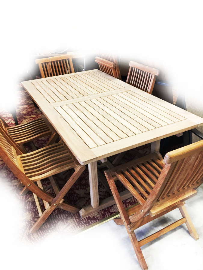 Teak Butterfly Extension Table Group - 7 Pieces