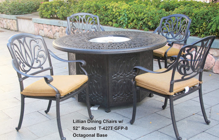 The Lillian Collections Dining Chairs with Octagonal Base Fire Pit