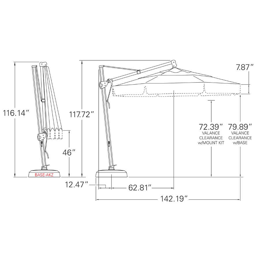 Cantilever Umbrella 11'