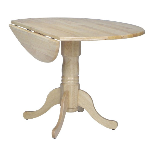 Round Dual Drop Leaf Pedestal Table - 42""
