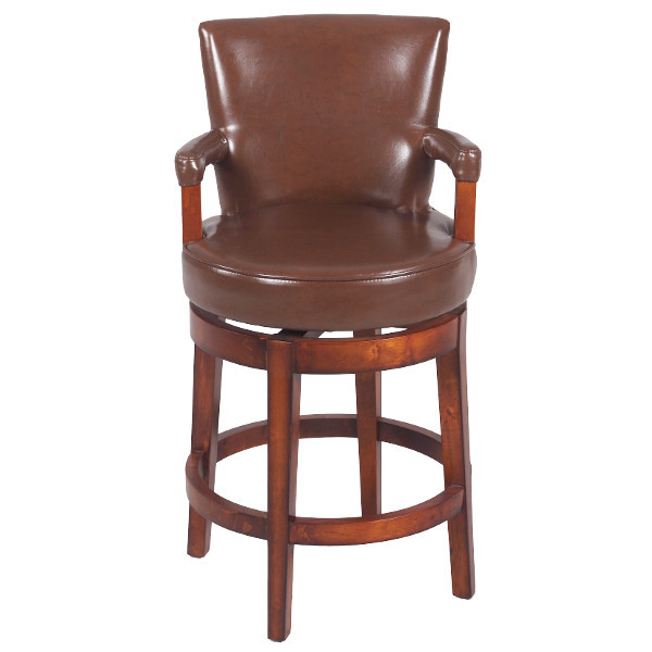Brown Swivel Stool with Antique Brown finish