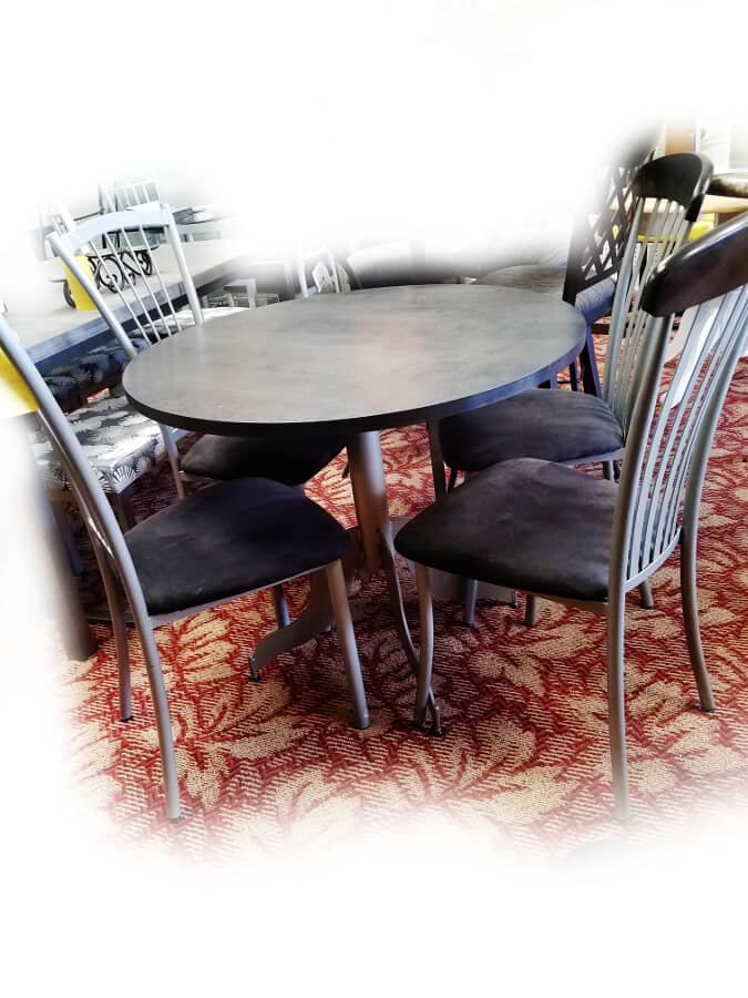 Hazy Grey Round Table with 2 Chairs