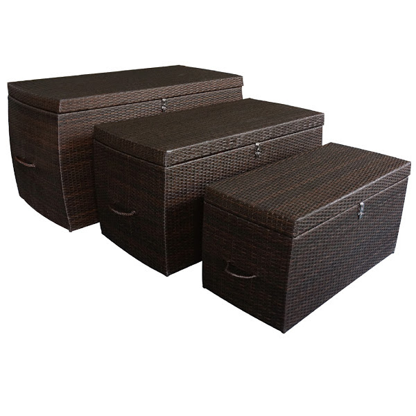 3 Piece Wicker Cushion Storage Box