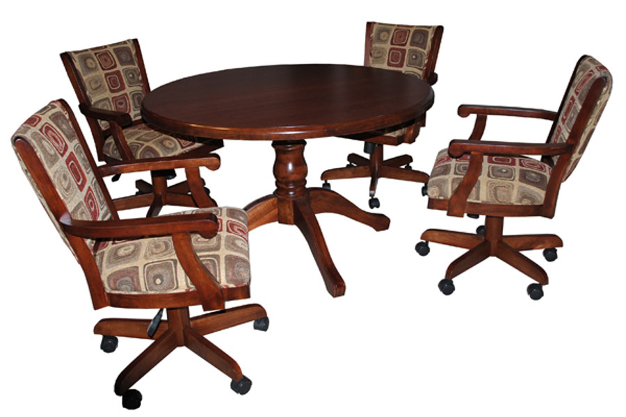 Dining table with coco castor chairs