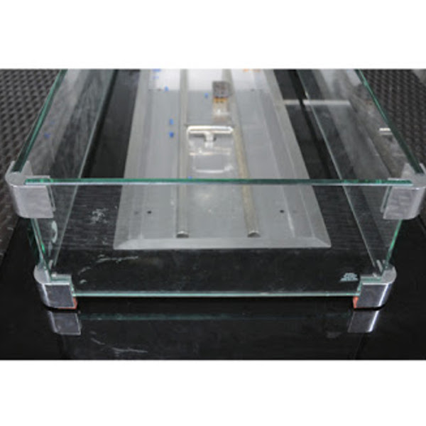 Rectangular Fire Pit Glass Wind Shield