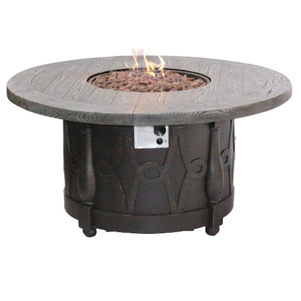 Round Gas Fire Pit with Stone Powder Synthetic Top 48""