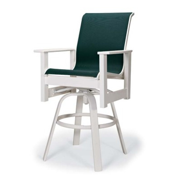 Leeward Sling Bar Height Swivel Arm Chair