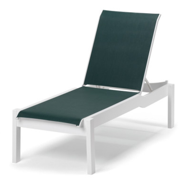 Leeward Sling Lay-flat Stacking Chaise with Wheels