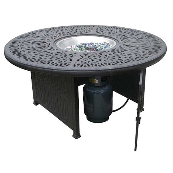 Round Floral Gas Fire Pit with Square Base 52""