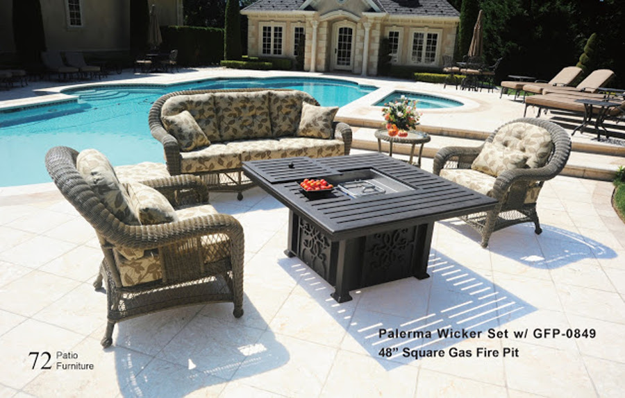 The Palerma Collection Wicker Set with Fire Pit
