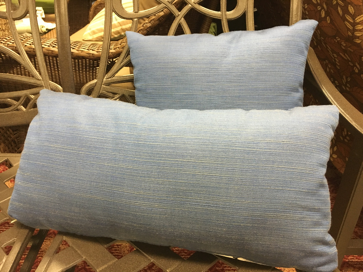 Blue Linen Throw Pillow